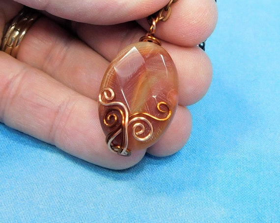 Artistic Agate Necklace Copper Wire Wrapped Gemstone Pendant, Artisan Crafted Wearable Art Jewelry, Handmade Jewelry Present for Women