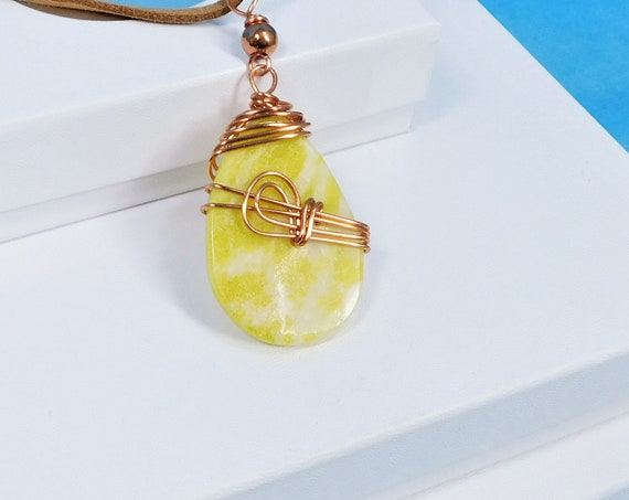 Copper Wire Wrapped Yellow Calcite Pendant Necklace, Artisan Crafted Rustic Gemstone Jewelry for Men or Women, Artistic Birthday Present