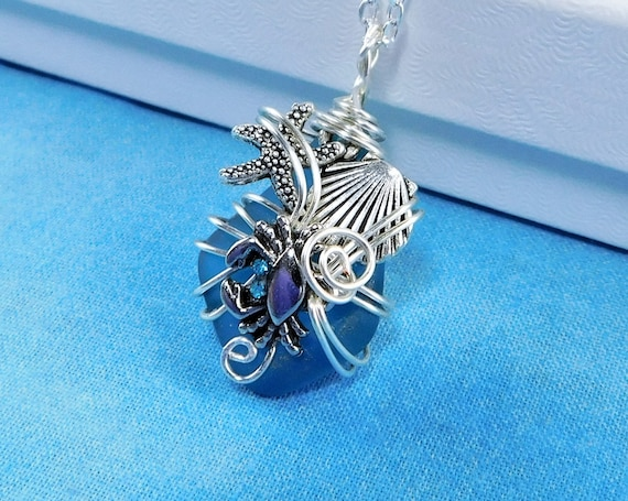 Wire Wrapped Blue Sea Glass Necklace Ocean Theme Pendant, Nautical Marine Animal Wearable Art Jewelry Present for Women, Mother in Law Gift