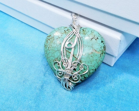 Large Wire Wrapped Gemstone Heart Pendant, Unique Artisan Crafted Turquoise Blue Stone Necklace, Handmade Wearable Art Jewelry for Women