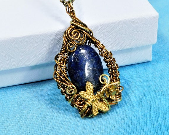 Lapis Lazuli Pendant, Copper Wire Wrapped Artistic Gemstone Dragonfly Necklace Unique 9th Anniversary Gift Jewelry for Wife or Sympathy Gift
