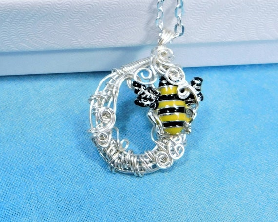 Artistic Bumblebee Necklace, Honeybee Pendant Wearable Art, Bee Jewelry Present for Girlfriend, Mom, Wife or for Best Friend Bee Theme Gift