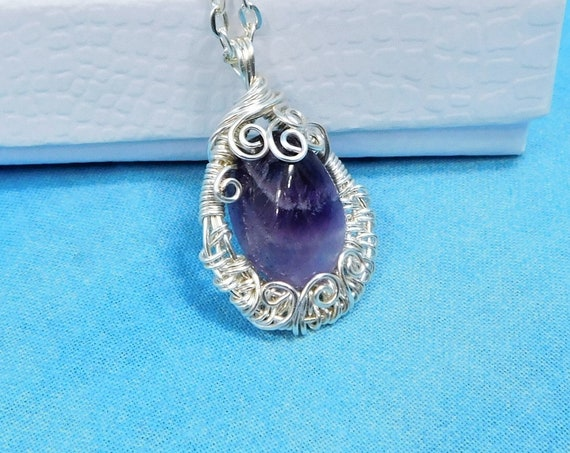 Woven Wire Wrapped Amethyst Pendant February Birthstone Necklace, Unique One of a Kind Wearable Art Jewelry Birthday Present for Wife