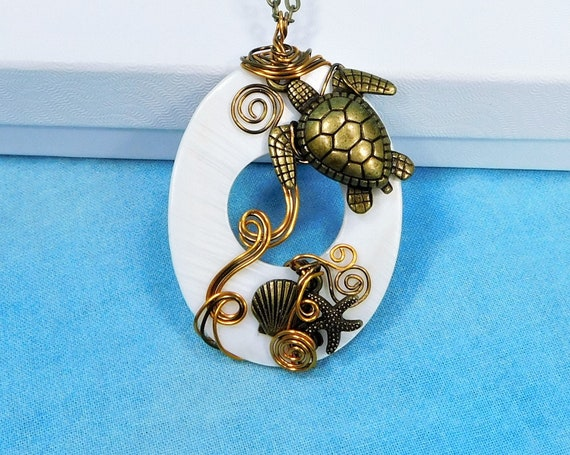 Handcrafted Sea Turtle Necklace, Large Wire Wrapped Wearable Art Pendant, Animal Lover Ocean Beach Theme Jewelry Birthday Present for Women