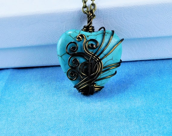 Wire Wrapped Gemstone Heart Pendant, Unique Artisan Crafted Turquoise Blue Stone Necklace, Handmade Wearable Art Jewelry Present for Women