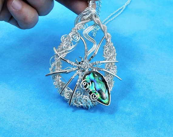Artistic Spider Necklace Halloween Statement Pendant, Artisan Crafted Woven Wire Jewelry, Spooky Birthday Present for Wife or Girlfriend