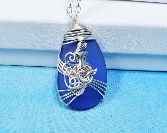 Wire Wrapped Mermaid Necklace, Artisan Crafted Blue Sea Glass Beach Theme Jewelry, Artistic Handmade Mermaid Theme Pendant Gift for Wife