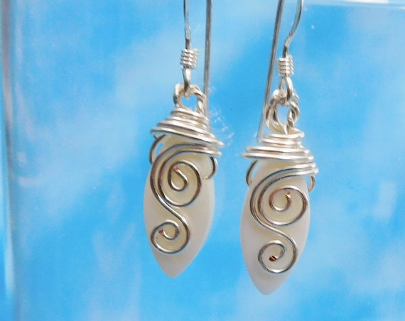 Wire Wrapped Mother of Pearl Earrings, Unique Artistic Wearable Art Jewelry, Artisan Crafted Anniversary, Christmas Present Ideas for Women
