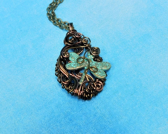 Woven Wire Wrapped Dragonfly Necklace, Unique Artisan Crafted Memorial Jewelry, Rustic Copper Bereavement Pendant, Anniversary Present