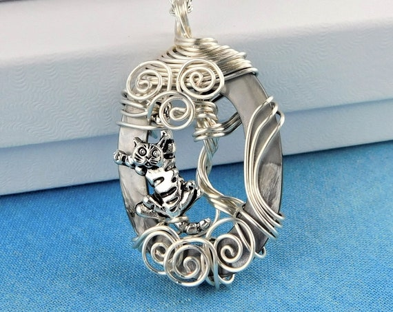 Cat Necklace, Artistic Kitty Pendant, Unique Wire Wrapped Pet Theme Jewelry, Artisan Crafted Wearable Art Present Ideas for Women