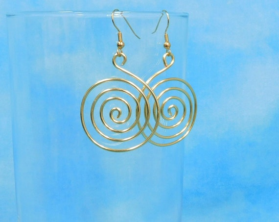 Large Gold Colored Spiral Pierced Hoop Earrings, Unique Wire Wrapped Swirl Loop Dangles, Handcrafted Jewelry Birthday Present for Women