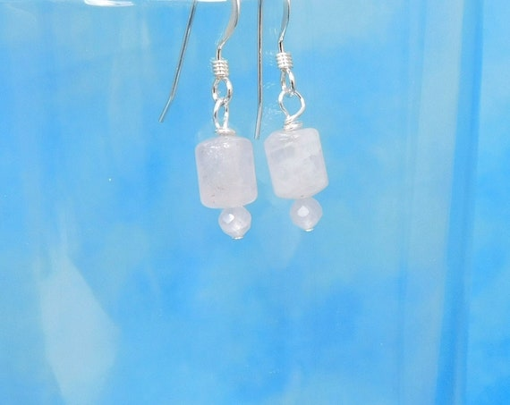 Rose Quartz Earrings Gemstone Jewelry Gift for Women, Crystal Quartz Dangles for Birthday Present or Anniversary Gift for Wife or Girlfriend