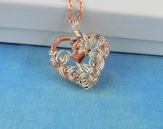 Woven Wire Wrapped Copper Heart Necklace, Unique Artisan Crafted Rose Gold Colored Heart Pendant, Wearable Art Jewelry Anniversary Present