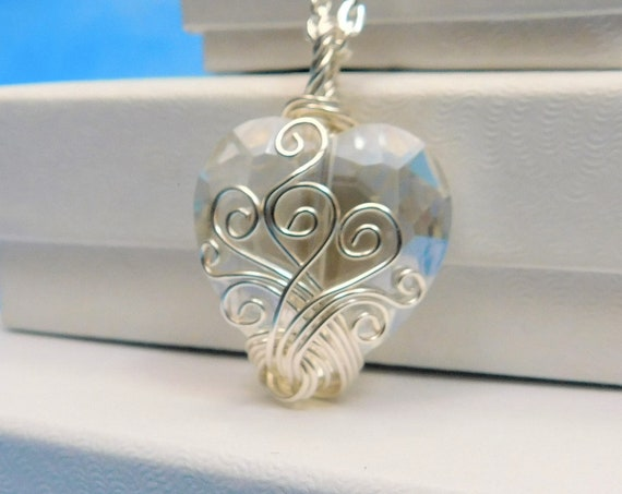 Artistic Wire Wrapped Crystal Heart Pendant, Unique Artisan Crafted Handmade Necklace, Wearable Art Jewelry First Anniversary Gift for Wife