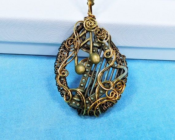 Harp Jewelry Musician Necklace, Unique Artisan Crafted Musical Theme Wearable Art Pendant, Music Teacher Harpist Present for Women