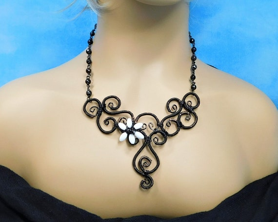 Black Statement Necklace with Mother of Pearl and Onyx Flower, Wire Wrapped and Sculpted Scroll Work Jewelry, Wearable Art Present for Women