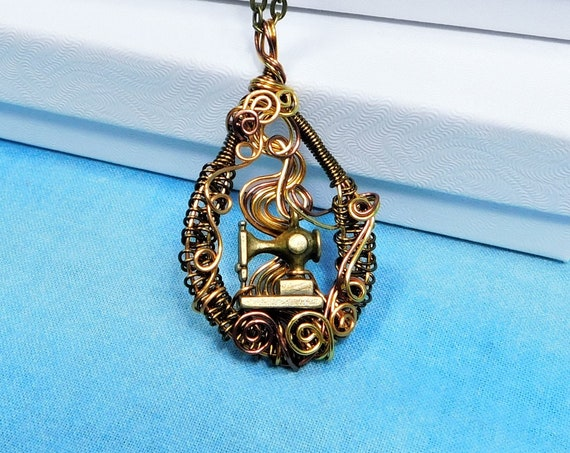 Sewing Machine Seamstress Pendant, Mother in Law Gift Jewelry, Unique Necklace for Mom, Present for Wife, Girlfriend or Women Who Sew