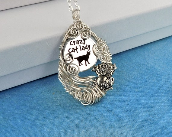 Unique Cat Necklace, Crazy Cat Lady Pendant, Artistic Wire Wrapped Jewelry, Humorous Wearable Art, Kitty Theme Present Ideas, Pet Lover Gift