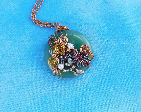 Copper Wire Wrapped Green Jade Pendant, Dragonfly Gemstone Necklace, Artisan Crafted Wearable Art Jewelry Mother's Day Present for Mom