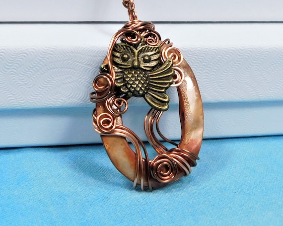 Unique Copper Wire Wrapped Owl Necklace, Artisan Crafted Wearable Art Jewelry, Artistic Handmade Pendant Birthday Present for Wife or Mom