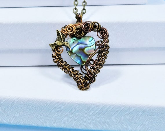 Artistic Hummingbird Jewelry, Wire Wrapped Copper Heart Pendant, Artisan Crafted Handmade Wearable Art Memorial Necklace Sympathy Gift