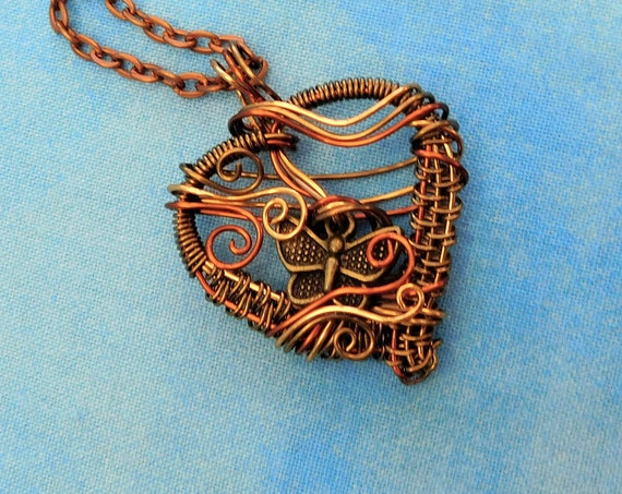 Butterfly Necklace Artisan Crafted Heart Pendant Unique Woven Wire Wrapped Artistic Jewelry Wearable Art Birthday Present Ideas for Women