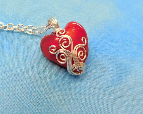 Unique Wire Wrapped Red Heart Necklace, Artistic Handcrafted Heart Pendant, Artisan Crafted Wearable Art Jewelry for Women