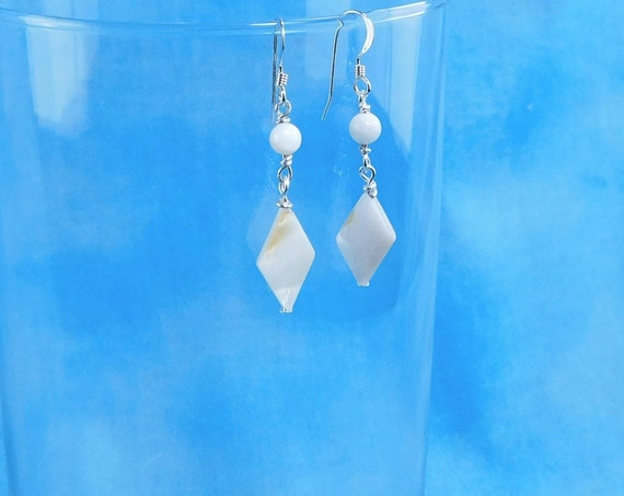Small Natural White Mother of Pearl Earrings, Unique Diamond Shaped Dangles, Wearable Art Jewelry Gift for Women, Present for Wife or Mom