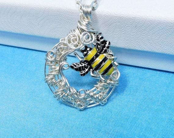 Artistic Bumblebee Necklace, Honeybee Pendant Wearable Art, Bee Jewelry Present for Girlfriend, Mom, Wife or for Best Friend Beekeeper Gift