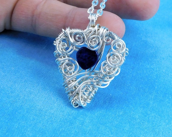 Woven Wire Wrapped Lapis Lazuli Pendant, Unique Artisan Crafted Gemstone Heart Necklace, Handmade Wearable Art Jewelry Present for Women