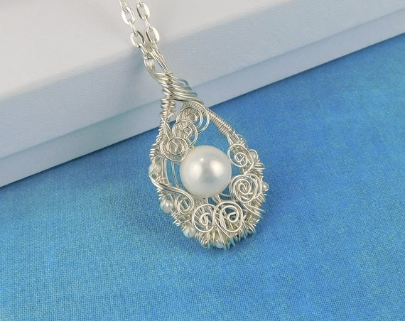 Single Pearl Necklace, Genuine Freshwater Pearl Pendant, Unique Wire Wrapped Gemstone Jewelry, Artisan Crafted June Birthstone Birthday Gift