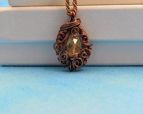 Genuine Citrine Pendant Birthstone Necklace, Unique Gemstone Jewelry for November Birthday, Artisan Crafted Woven Wire Wrapped Wearable Art