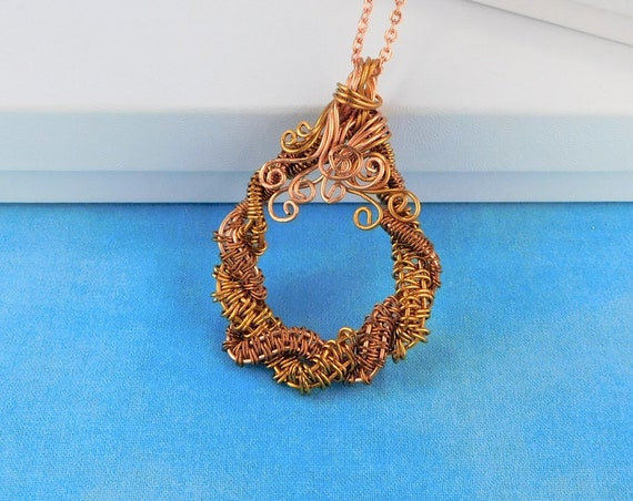 Unique Woven Wire Wrapped Copper Statement Necklace, Artistic Handmade Wearable Art Jewelry Present Ideas for Women, Wife, Best Friend, Aunt