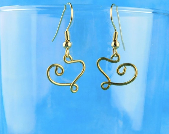 Heart Dangle Earrings, Small Sculpted Brass Wire, Unique Handmade Romantic Artisan Wearable Art Jewelry, Artistic Present Ideas for Women