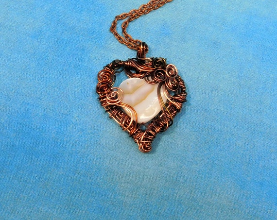 Artistic Woven Copper Heart Necklace, Artisan Crafted Wire Wrapped Mother of Pearl Pendant, Wearable Art Jewelry Gift for Girlfriend or Wife