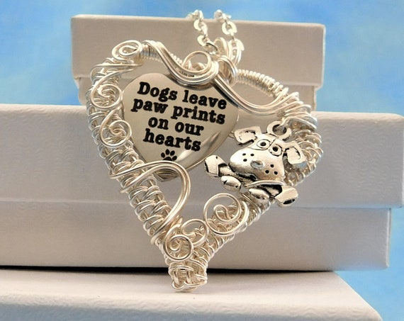 Paw Print Necklace Dog Lover Gift, Unique Wire Wrapped Pet Pendant, Artistic Handmade Jewelry Present Ideas for Wife, Girlfriend, Sister