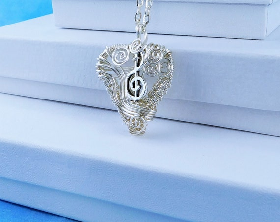 Treble Clef Necklace Woven Wire Heart Pendant Gift for Girlfriend, Artisan Crafted Unique Wire Wrapped Artistic Wearable Art Music Jewelry