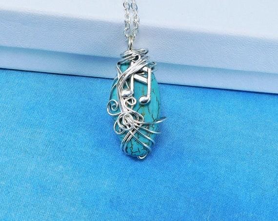 Music Note Necklace Girlfriend Jewelry Ideas, Musical Notes Musician Pendant Necklace for Women, Artistic Handmade Music Teacher Gift Ideas