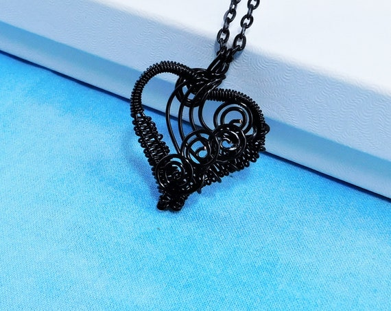 Artisan Crafted Unique Black Woven Wire Wrapped Heart Necklace, Artistic Handcrafted Wearable Art Pendant, Jewelry Present Ideas for Women