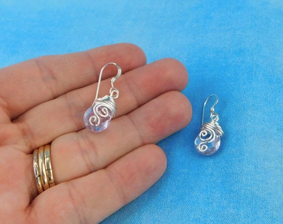 Artistic Purple Crystal Dangle Earrings, Unique Wire Wrapped Jewelry, Artisan Crafted Wearable Art Birthday Present Ideas for Wife or Mom