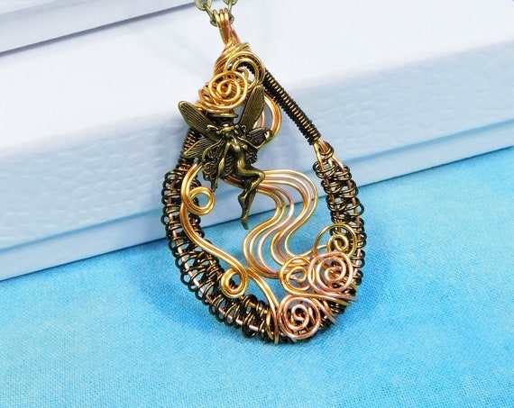 Artistic Handmade Fairy Necklace, Unique Rustic Copper Wire Wrapped Pendant, Artisan Crafted Wearable Art Jewelry Birthday Present for Mom