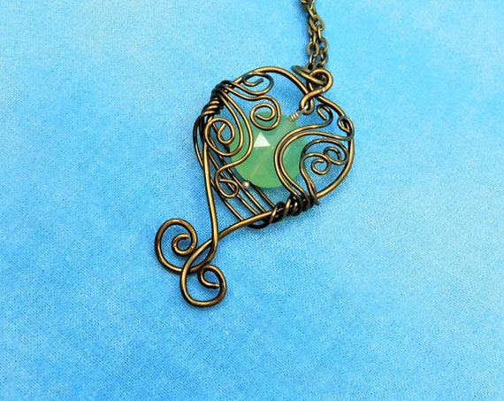 Copper Wire Wrapped Green Chalcedony Pendant, Artistic Gemstone Jewelry, Unique Artisan Crafted Present Idea for Women, Gift for Girlfriend