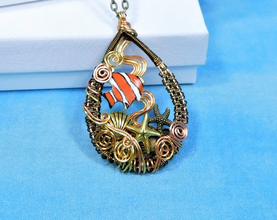 Clownfish Necklace Ocean Theme Pendant, Woven Wire Wrapped Artistic Beach Jewelry, Handmade One of a Kind Sea Life Wearable Art Present