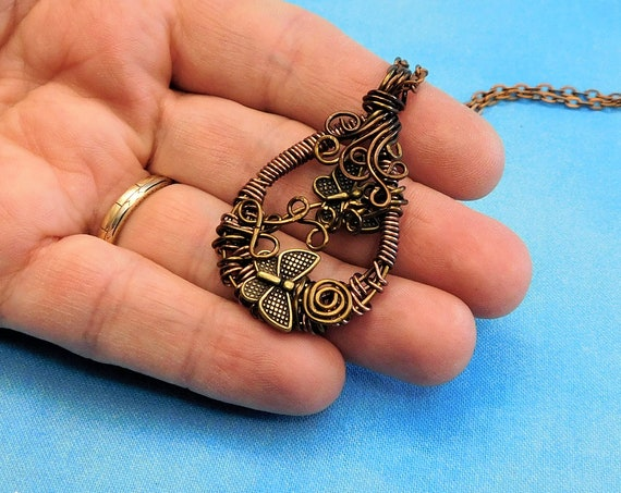 Artistic Copper Butterfly Pendant, Wire Wrapped Jewelry with Butterflies, Artisan Crafted Memorial Necklace Wearable Art Bereavement Present
