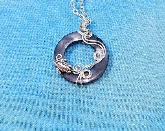 Handcrafted Sea Turtle Necklace, Wire Wrapped Aquatic Wildlife Pendant, Animal Lover Ocean Beach Theme Jewelry Gift for Birthday Present