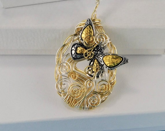 Artistic Butterfly Necklace, Artisan Crafted Unique Wire Wrapped Pendant, Handmade One of a Kind Jewelry Wearable Art Bereavement Gift Idea