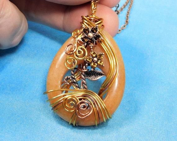 Copper Wire Wrapped Aventurine Necklace, Artisan Crafted Gemstone Pendant, Unique Stone Jewelry, Handcrafted Wearable Art Present