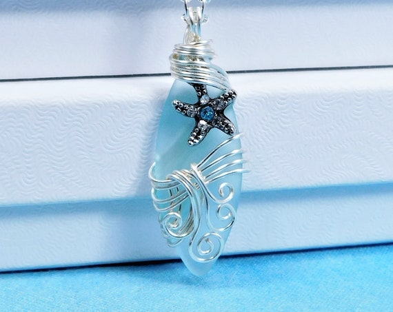 One of a Kind Starfish Necklace, Unique Wire Wrapped Beach Jewelry, Artisan Crafted Sea Theme Pendant, Artistic Present for Women