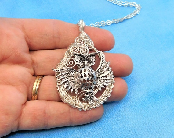 Unique Wire Wrapped Owl Necklace, Artisan Crafted Woven Pendant, Handmade Wearable Art Jewelry, Artistic Birthday Anniversary Present Ideas