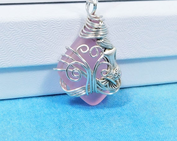 Artisan Crafted Pink Sea Glass Mermaid Necklace, Unique Wire Wrapped Wearable Art, Artistic Ocean Pendant Beach Theme Jewelry Present Idea